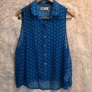 Hollister blue sleeveless button down top